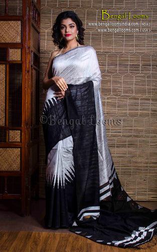 Tussar Silk Saree with Temple Border in Black and White - Bengal Looms India