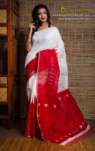 Tussar Silk Saree with Temple Border in Red and White