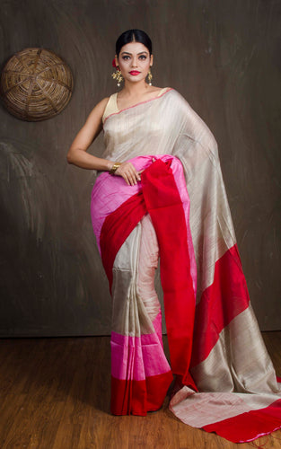 Matka Tussar Saree with Skirt Border in Beige, Pink and Red