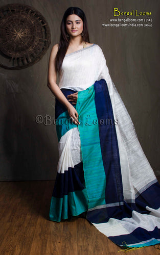 Matka Tussar Saree with Skirt Border in Off White, Midnight Blue and Teal