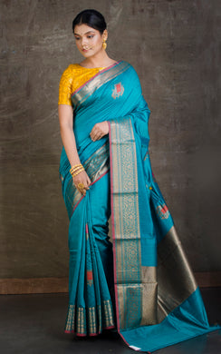 Soft Moonga Tussar Banarasi Saree in Rama Green