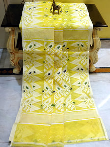 Handwoven Jamdani Sarees in Light Yellow and White