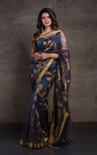 Muslin Silk Jamdani Saree in Steel Grey and Antique Gold