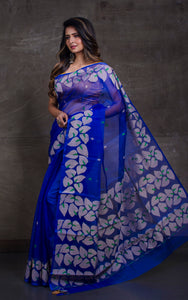 Silk Jamdani Saree in Egyptian Blue and Green with Gicha Thread Work