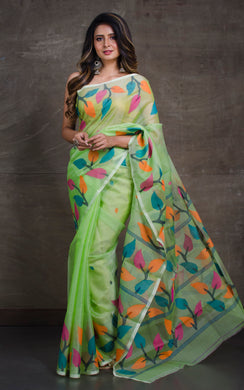 Silk Jamdani Saree in Mint Green and Multicolored Thread Work