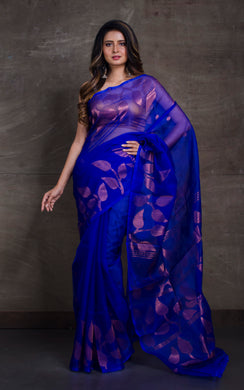 Silk Jamdani Saree in Indigo Blue and Copper Zari Work