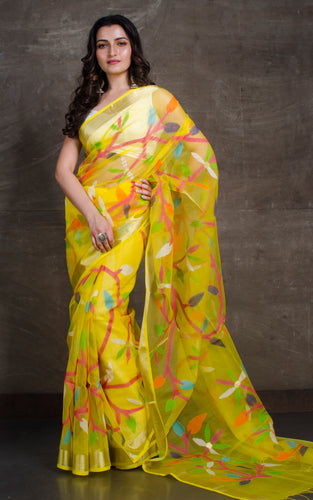 Silk Jamdani Saree in Bright Yellow and Multicolored Thread Work