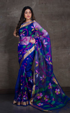 Silk Jamdani Saree in Royal Blue and Multicolored Thread Work