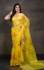 Muslin Jamdani Saree in Lemon Yellow, Hot Pink and Copper Gold