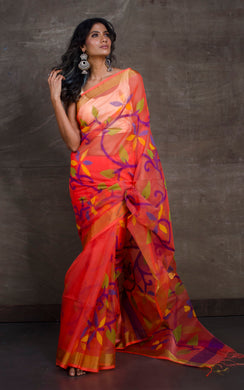Silk Jamdani Saree in Peach and Multicolored Thread Work