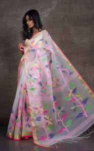 Silk Jamdani Saree in Off white, Pink and Multicolored Thread Work