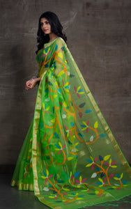 Silk Jamdani Saree in Parrot Green and Multicolored Thread Work