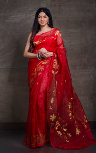 Silk Jamdani Saree in Sacramento Red and Gold