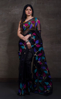 Silk Jamdani Saree in Black and Multicolored Thread Work