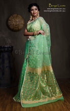 Muslin Jamdani Saree in Mint Green and Gold from Bengal Looms India