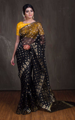 Muslin Jamdani Saree in Black and Gold from Bengal Looms India