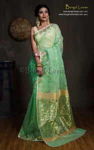 Muslin Jamdani Saree in Mint Green and Gold