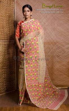 Dhakai Jamdani Saree in Beige and Multicolored Thread Work