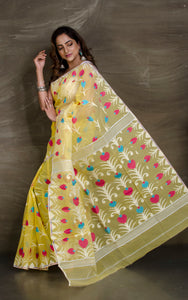 Dhakai Jamdani Saree in Lemon Yellow and Multicolored Thread Work