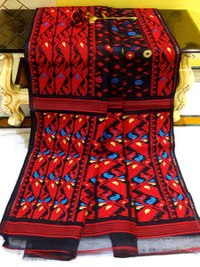 Dhakai Jamdani Saree in Black, Red, Beige and Blue from Bengal Looms India