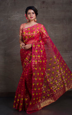 Dhakai Jamdani Saree in Hot Pink and Multicolored Thread Work