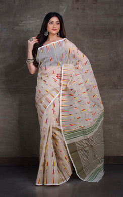Dhakai Jamdani Saree in Cream and Multicolored Thread Work