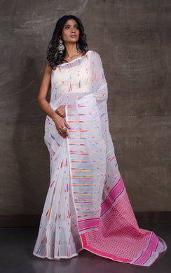 Dhakai Jamdani Saree in White and Multicolored Thread Work