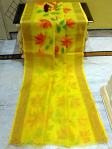 Muslin Jamdani Saree in Light Yellow and Multicolored Thread Work