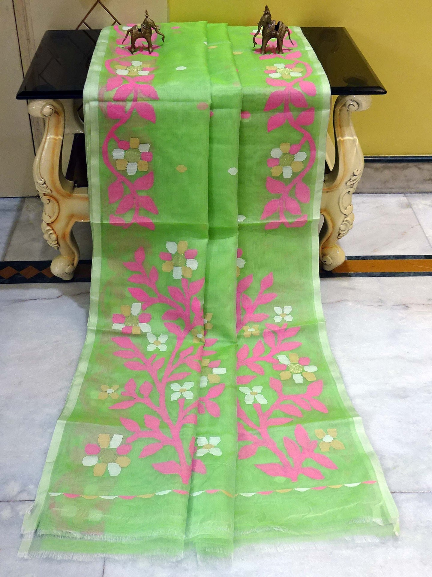Muslin Jamdani Saree in Frozen Green and Multicolored Thread Work
