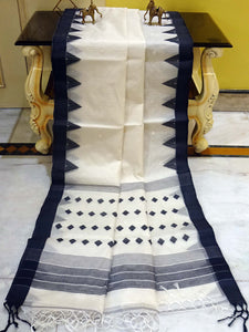 Resham Muslin Jamdani Saree in White and Black