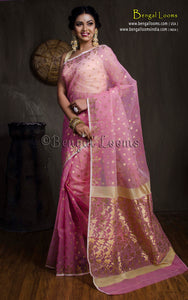 Muslin Jamdani Saree in Baby Pink and Gold from Bengal Looms India