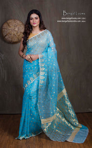 Muslin Jamdani Saree in Sky Blue and Gold from Bengal Looms India
