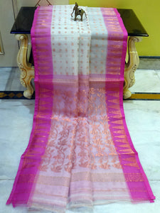 Lightweight Muslin Jamdani Silk Saree in White and Pink