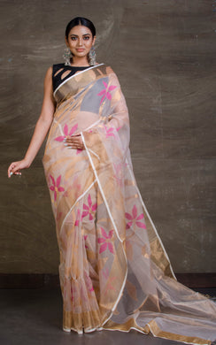 Muslin Jamdani Saree in Linen White, Gold and Magenta from Bengal Looms India