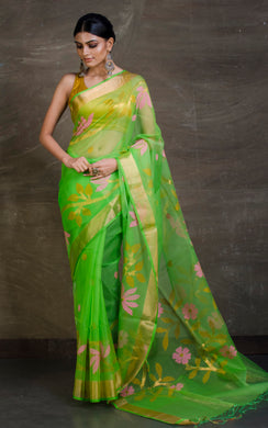 Muslin Jamdani Saree in Spring Green and Multicolour from Bengal Looms India