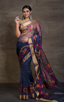 Muslin Jamdani Saree in Midnight Blue and Multicolored Thread Work