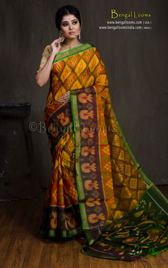 Cotton Silk Pochampally Saree in Yellow, Black and Green from Bengal Looms India