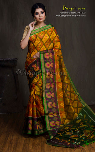 Cotton Silk Pochampally Saree in Yellow, Black and Green