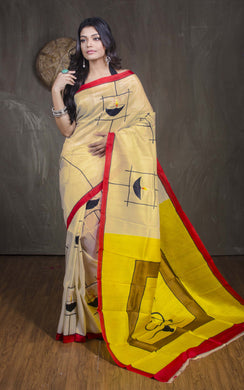 Printed Pure Silk Saree in Butter Cream, Red and Yellow