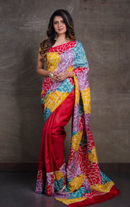 Hand Batik Pure Silk Saree in Red and Multicolored