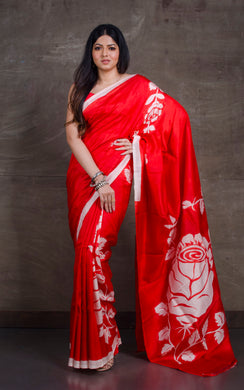 Floral Printed Pure Silk Saree in Red and White