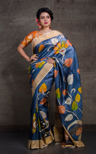 Printed Soft Tussar Silk with Matte finish Zari Border in Steel Grey and Multicolored Prints