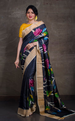 Printed Soft Tussar Silk with Matte finish Zari Border in Black and Multicolored Prints