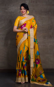 Printed Soft Tussar Silk with Matte finish Zari Border in Golden Yellow and Multicolored Prints