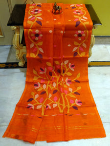 Muslin SILK Jamdani Saree in Fire Orange and Multicolored