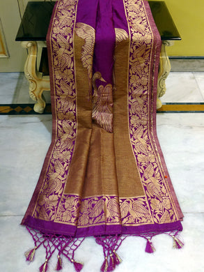 Semi Silk Jute Valkalam Katan in Violet and Gold