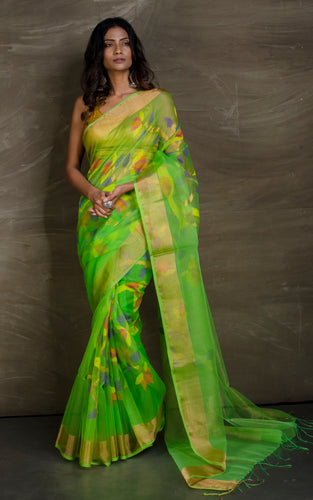 Muslin Jamdani Saree in Parrot Green and Multicolored Thread Work