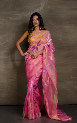 Muslin Jamdani Saree in Pink, Gold, Navy Blue and White