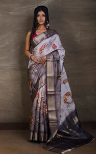 Digital Printed Silk Linen Saree in Metallic Grey and Light Grey