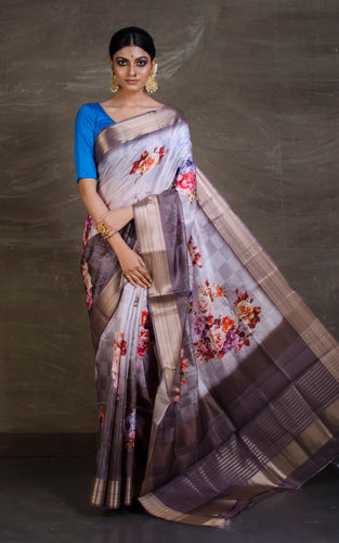 Digital Printed Silk Linen Saree in Light Grey and Coffee Brown